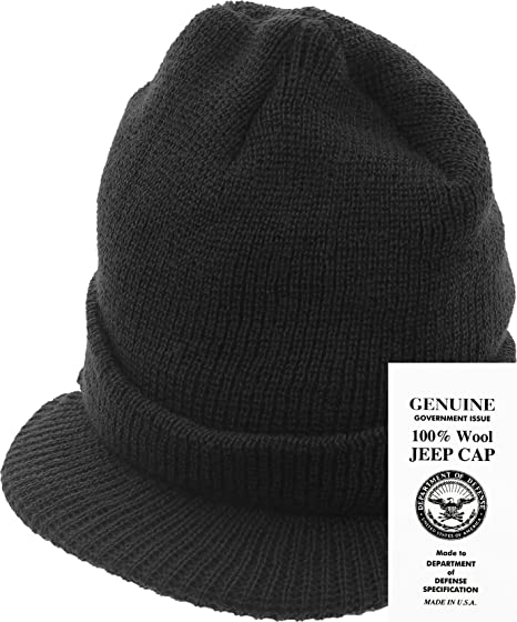 Genuine GI Official Military Wool Cold Weather Winter Knit Hat Jeep Watch  Cap (Black) 11bc07c6355