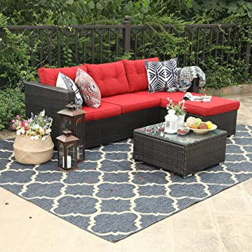 Superbe PHI VILLA 3 Piece Outdoor Rattan Sectional Sofa  Patio Wicker Furniture  Set, Red