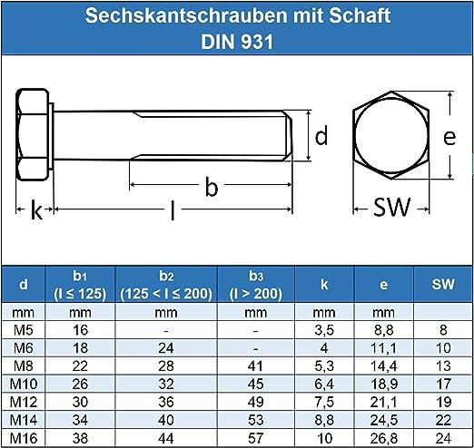 Maschinenschrauben mit Teilgewinde M16 x 60 mm Sechskantschrauben mit Schaft - DIN 931 rostfrei Eisenwaren2000 Edelstahl A2 V2A Gewindeschrauben 10 St/ück ISO 4014