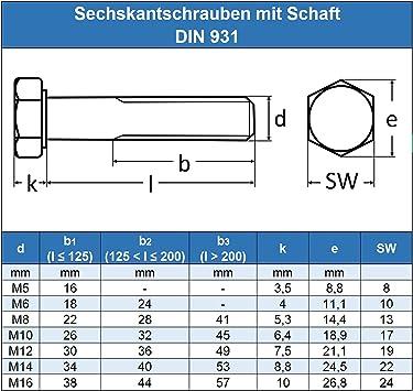 Gewindeschrauben Eisenwaren2000 ISO 4014 Maschinenschrauben mit Teilgewinde rostfrei 40 St/ück - DIN 931 Edelstahl A2 V2A M16 x 160 mm Sechskantschrauben mit Schaft