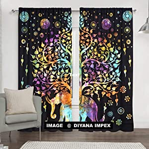 DIYANA IMPEX Indian Tie Dye Tree Of Life Tapestry, Mandala Window Curtain Valances Room Divider 2 Pc Panel Set 84 x 80""
