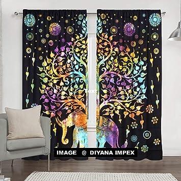 Brilliant Diyana Impex Indian Tie Dye Tree Of Life Tapestry Mandala Window Curtain Valances Room Divider 2 Pc Panel Set 84 X 80 Interior Design Ideas Tzicisoteloinfo