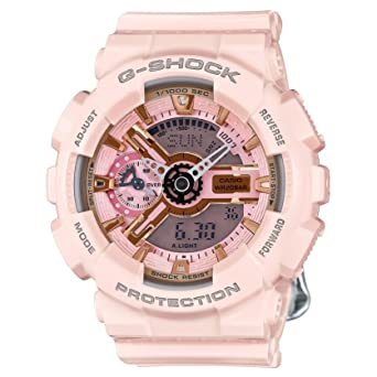 Casio G-Shock Gold and Pink Dial Pink Resin Quartz Ladies Watch  GMAS110MP-4A1 eba896f7458d