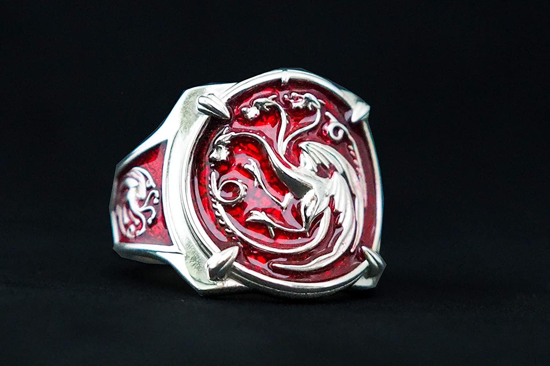 925 sterling silver Dragon ring Red enemal
