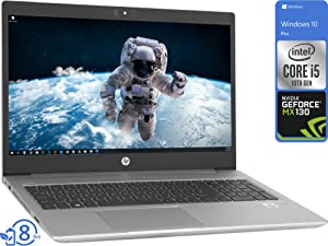 """HP ProBook 450 G7 Laptop, 15.6"""" HD Display, Intel Core i5-10210U Upto 4.2GHz, 16GB RAM, 512GB NVMe SSD, GeForce MX130, HDMI, DisplayPort via USB-C, Wi-Fi, BT, Windows 10 Pro"""