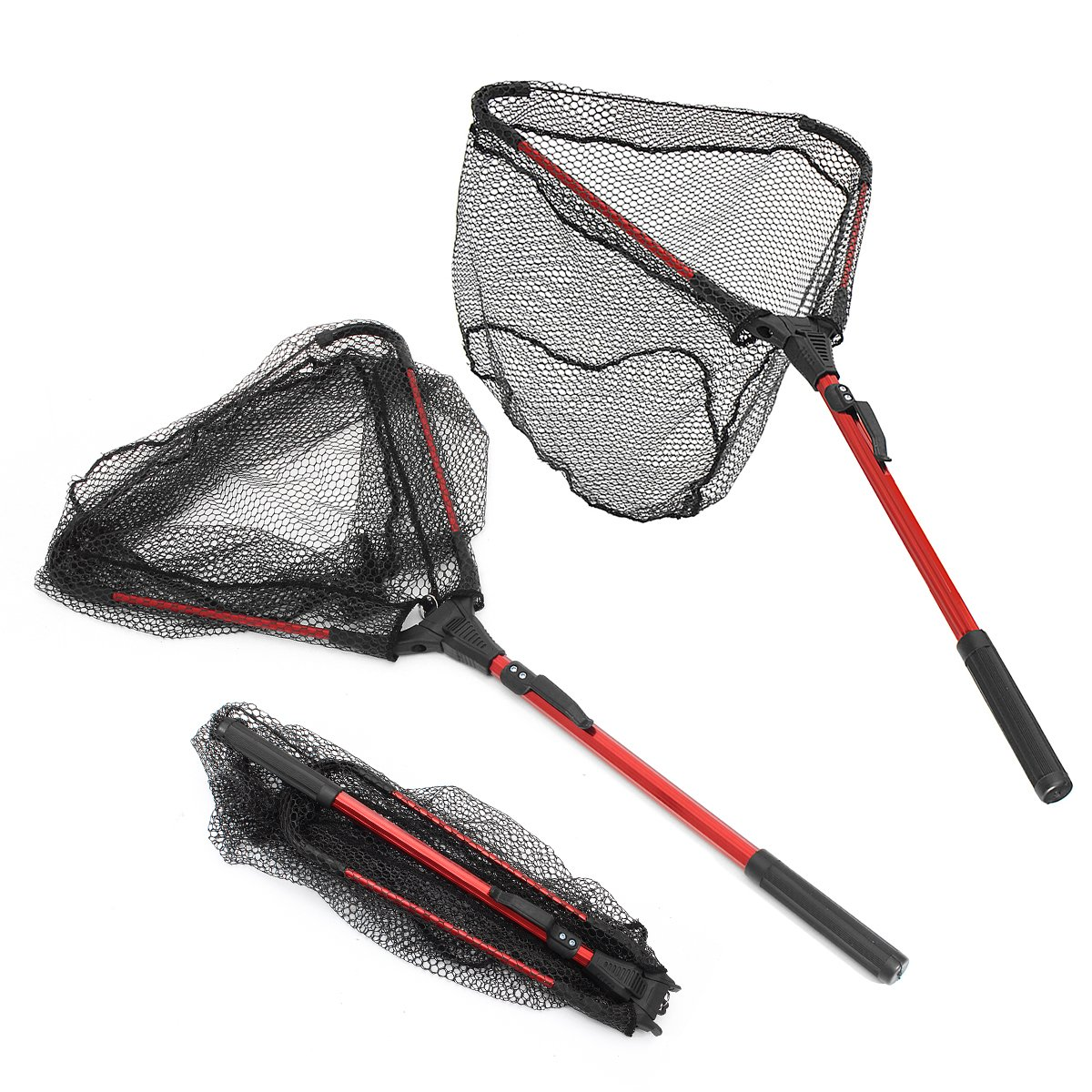 80Cm Black Red Aluminum Alloy Single Triangular Folding Fishing Net \ Lobster Salmon Trap Beach Line Eels Set Trout Fly Lure Catfish Rod Reels Sea Pole Minow Bait Fish Box Generic