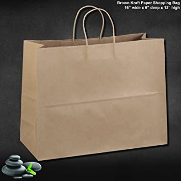 Amazon.com: 50 Paper Retail / Shopping Bags KRAFT with Rope ...