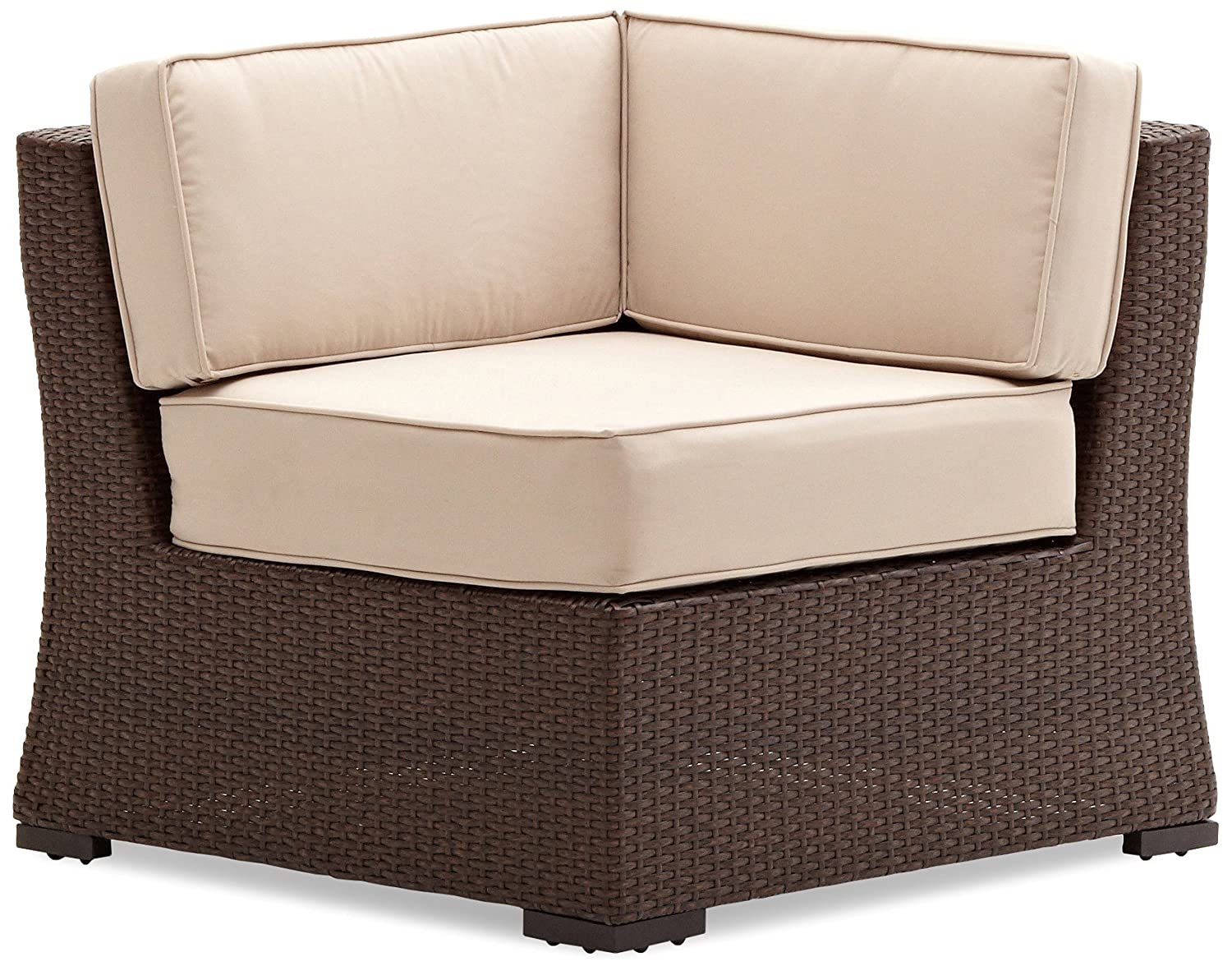 Amazon.com: Strathwood Griffen All-Weather Wicker Sectional Corner Chair,  Dark Brown: Garden & Outdoor