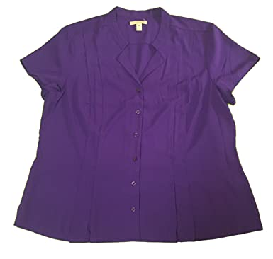906b0fbeb77b8 Dana Buchman Women s Short Sleeve Notch Collar Blouse Purple X-Large ...