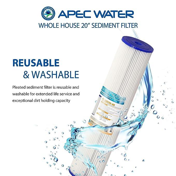 "APEC 20/"" x 4.5/"" Big Blue Whole House Reusable /& Pleated Sediment Water Filter"