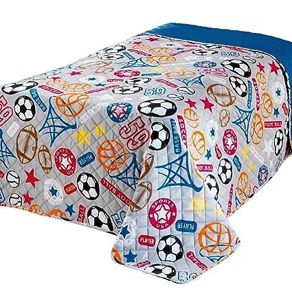 Copriletto Singolo Per Bambini.Delindo Lifestyle Copriletto Singolo Sport Per Cameretta Bambini Ragazzo Blu Trapuntato 170x210 Cm