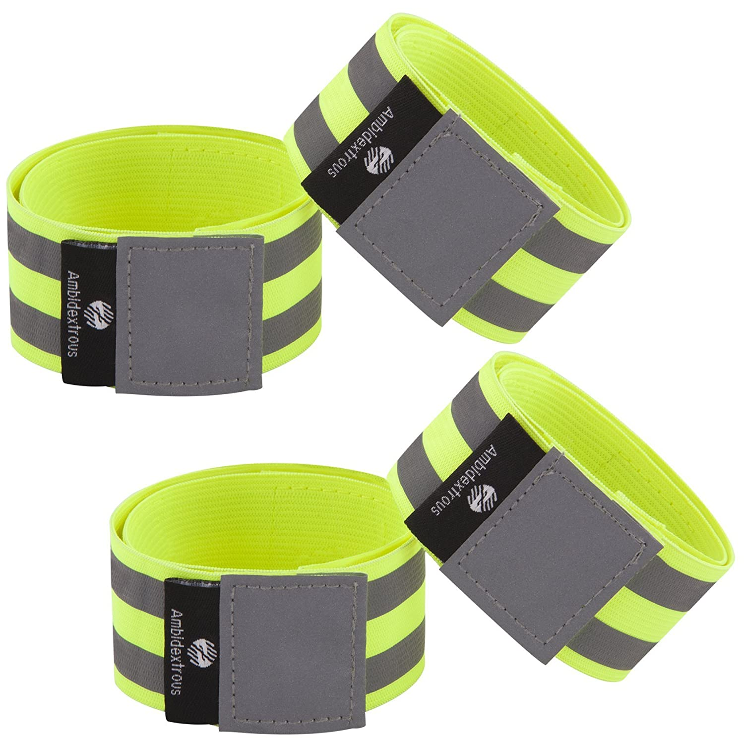 Set of 4 Reflective Ankle Bands Walking Reflectors for Runners Armbands Cycling Reflector Tape Providing High Visibility Safety Apparel Utilis Products Wristbands Reflective Running Gear for Men and Women