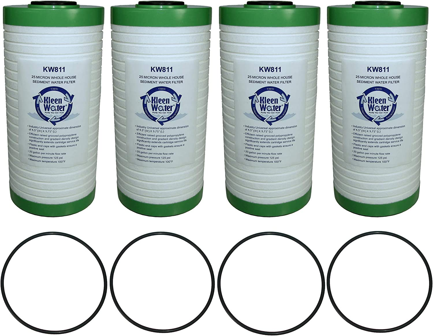 25 Micron Rust and Sediment Water Filter Cartridges 4.5 X 10 Inch KleenWater KW811 Replacement Dirt Pack of 4 Filters with 4 O-rings AO-WH-PREL and WHKF-GD25BB Compatible Filter