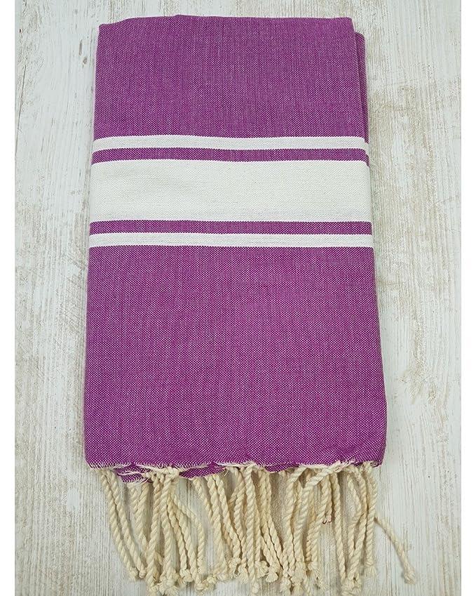 TML - Toalla, colcha o futa, 100% algodón, 100 x 200 cm, modelos bicolores, Lilas & Blanc, 100_x_200_cm: Amazon.es: Hogar