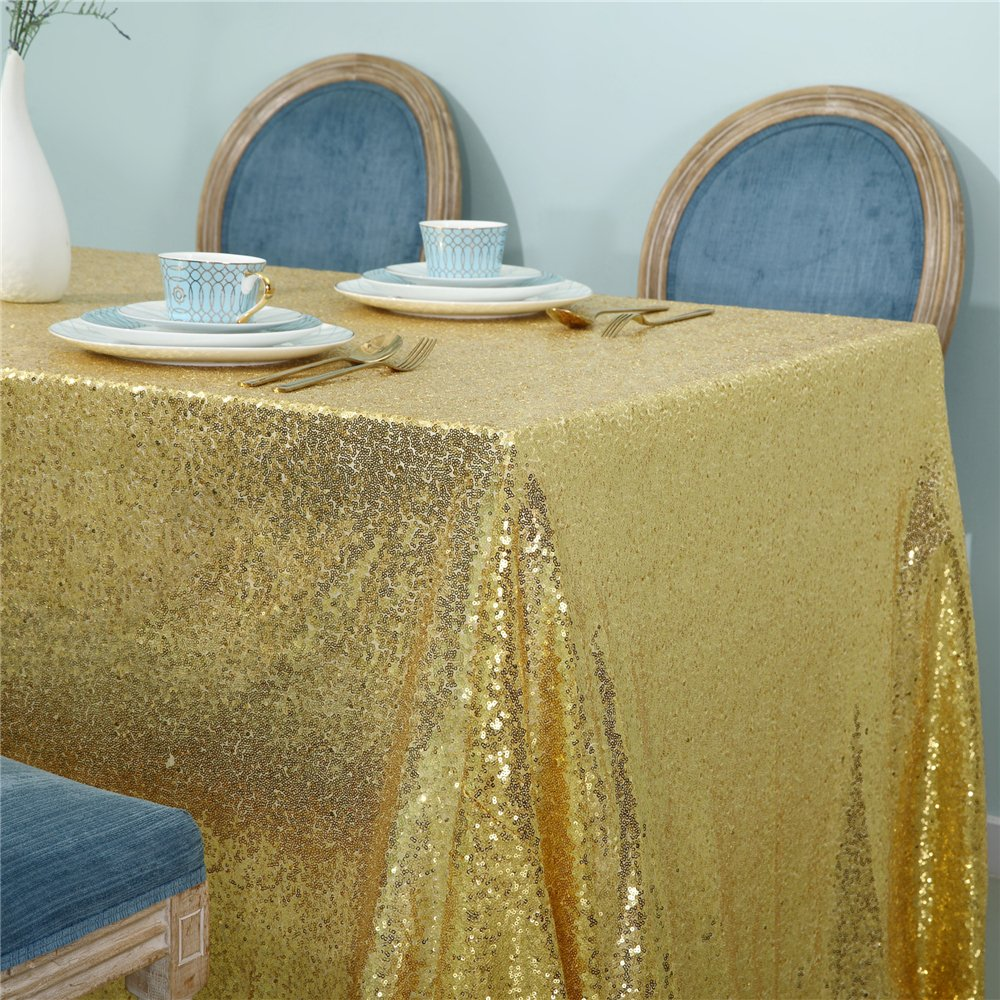 Zdada 55x72 Rectangle Sequin Tablecloth for Wedding Party Cake Table,Gold