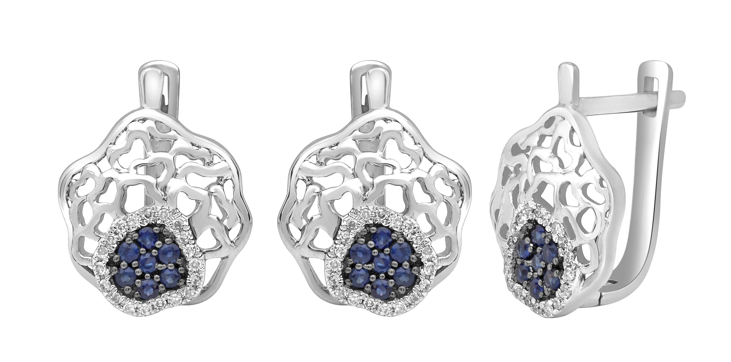 Jewel Ivy 14K White Gold Earring with Sapphire and Diamond Fine Jewelry, Best For Gifting Wife, Girlfriend, Friend, Rare Item !!