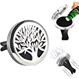 FIKA Tree of Life Car Air Freshener Aromatherapy Essential Oils Vent Clip Locket Diffuser Pads Travel