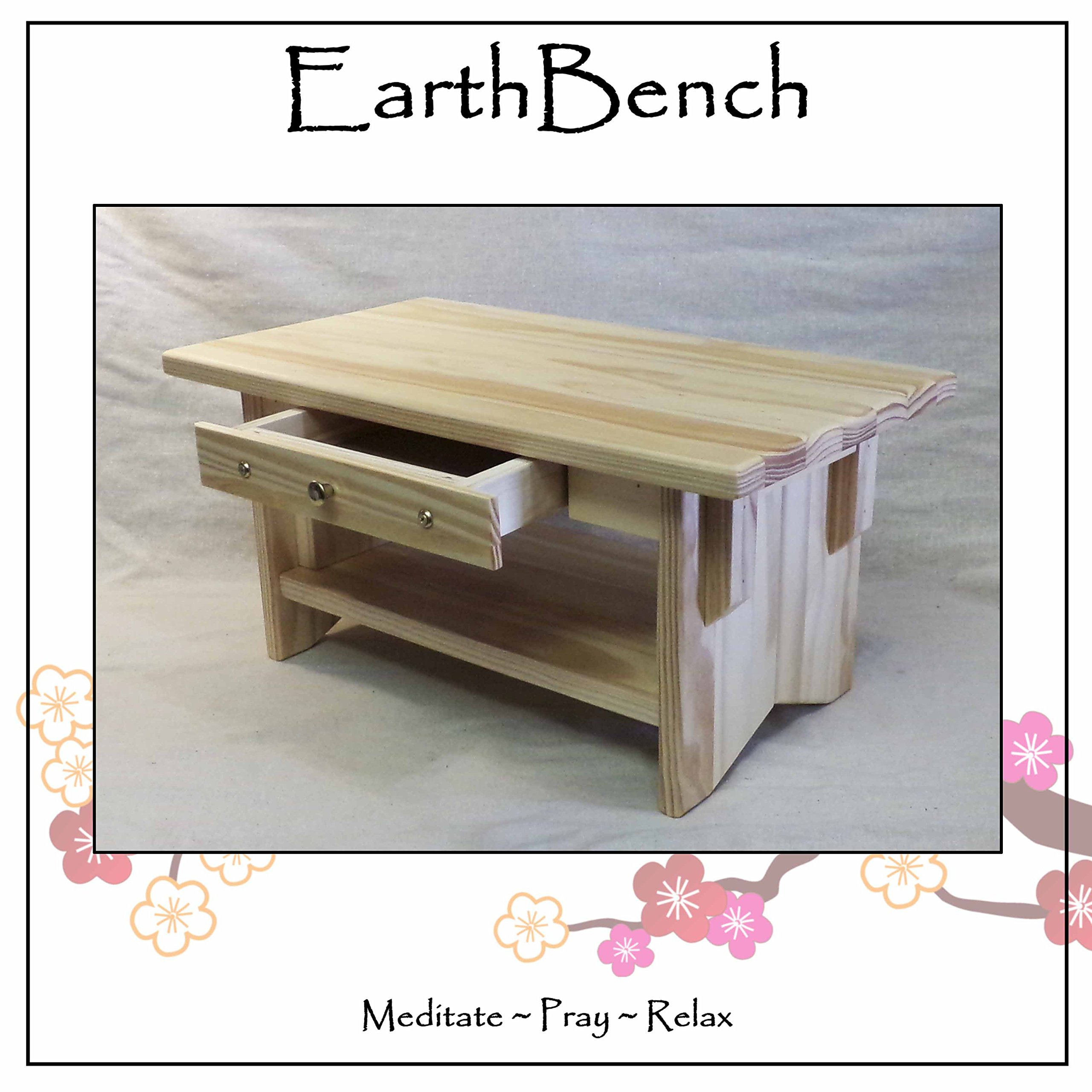 Personal Altar Table w/ Display Shelf: 20''×11''×10'' tall ~ EarthBench (Pine 10'' w/ Drawer)