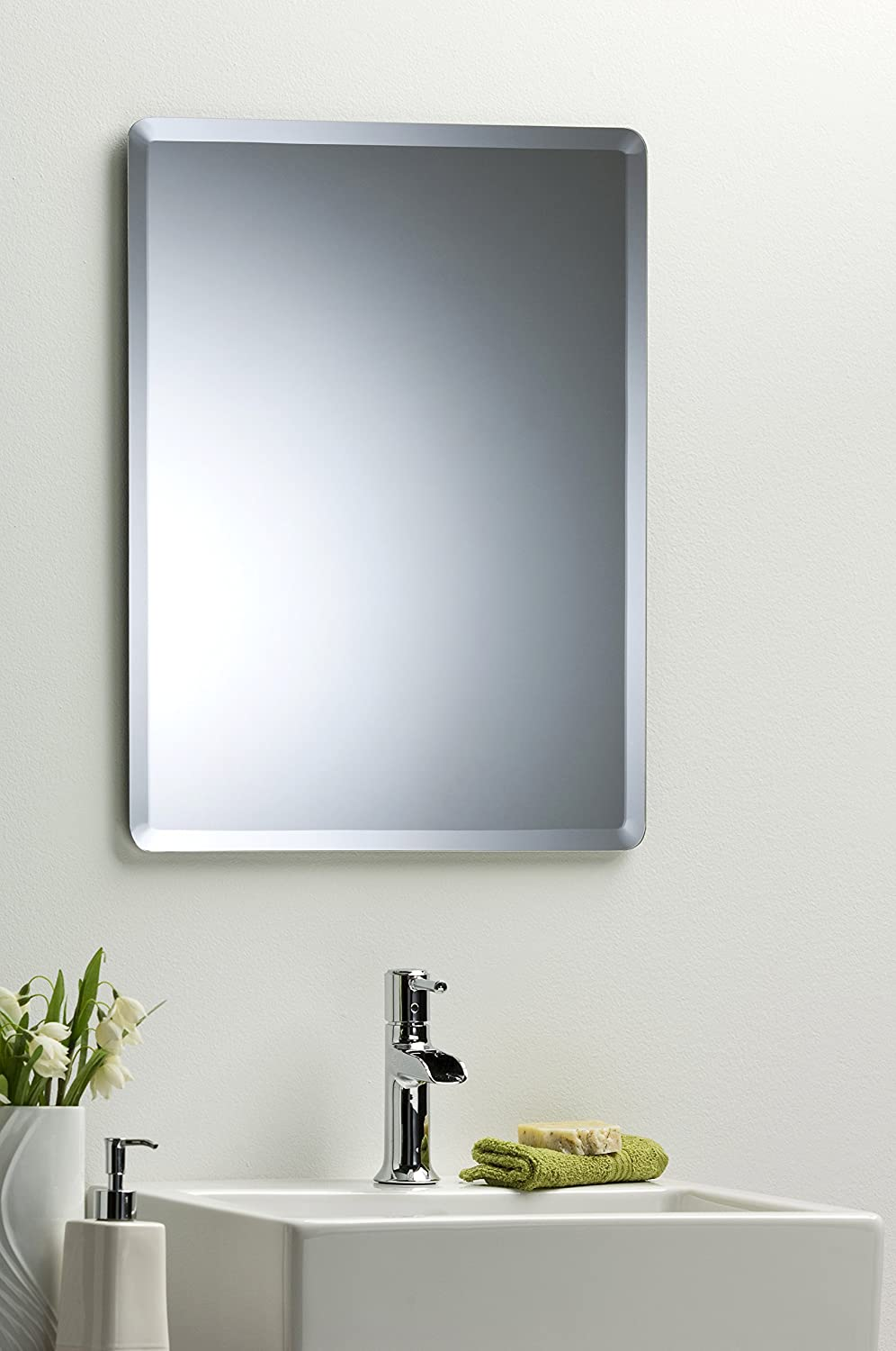 bathroom wall mirror simple elegant rectangular 60cm x 45cm plain design with bevel wall mounted amazoncouk kitchen u0026 home