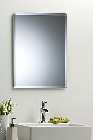 Bathroom Wall Mirror Simple Elegant Rectangular 60cm X 45cm Plain Design With Bevel