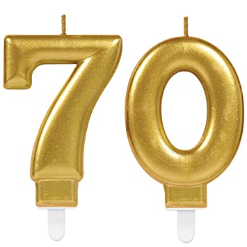 CARPETA® 2 x Número velas * Número 70 * en oro | 11 cm x 9 ...