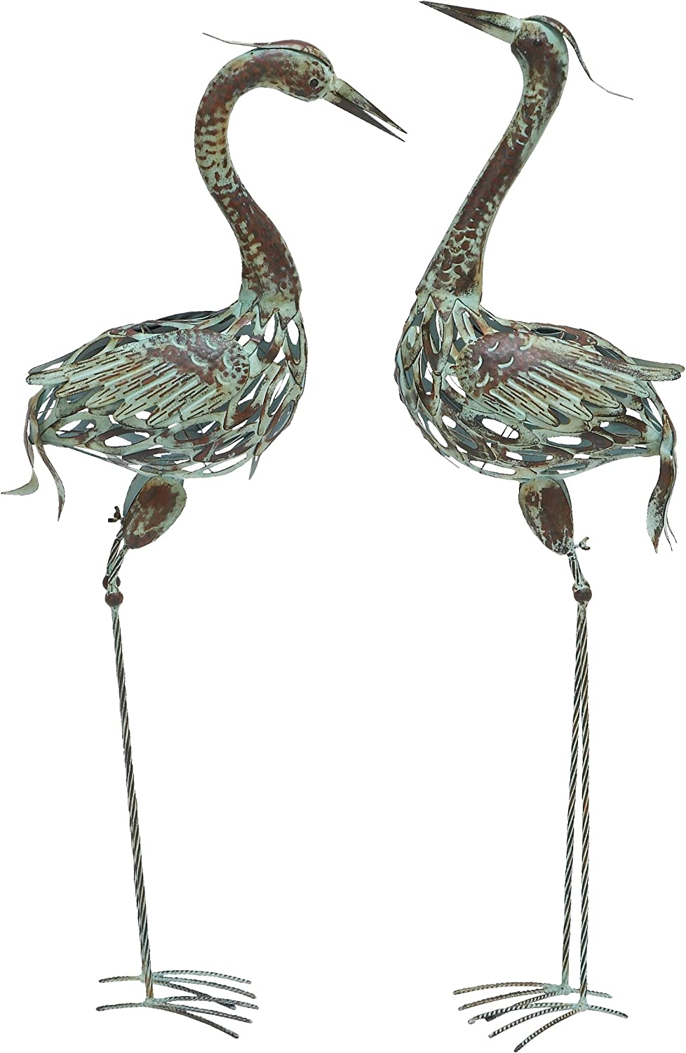 Deco 79 50401 Metal Decorative Crane Statue, 40 by 38-Inch, Set of 2