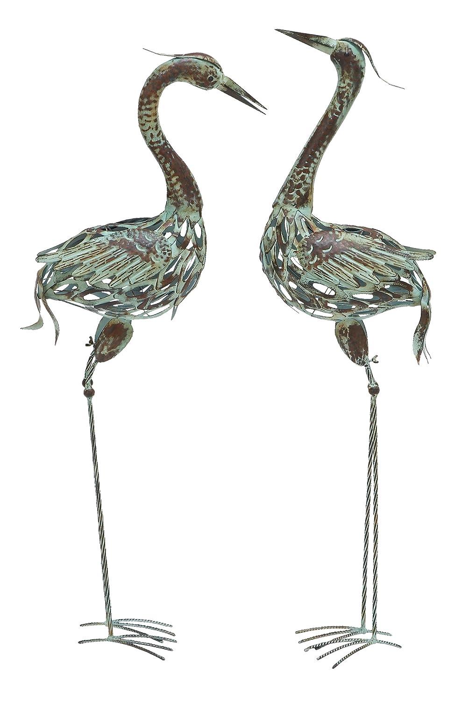 Garden crane pair statues heron bird sculpture outdoor for Decorative birds for outside