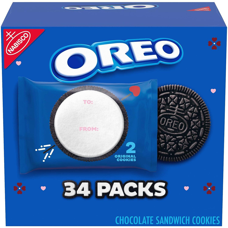OREO Chocolate Sandwich Cookies, Original Flavor, Valentine's Day Edition, 0.78 oz (Pack of 34)