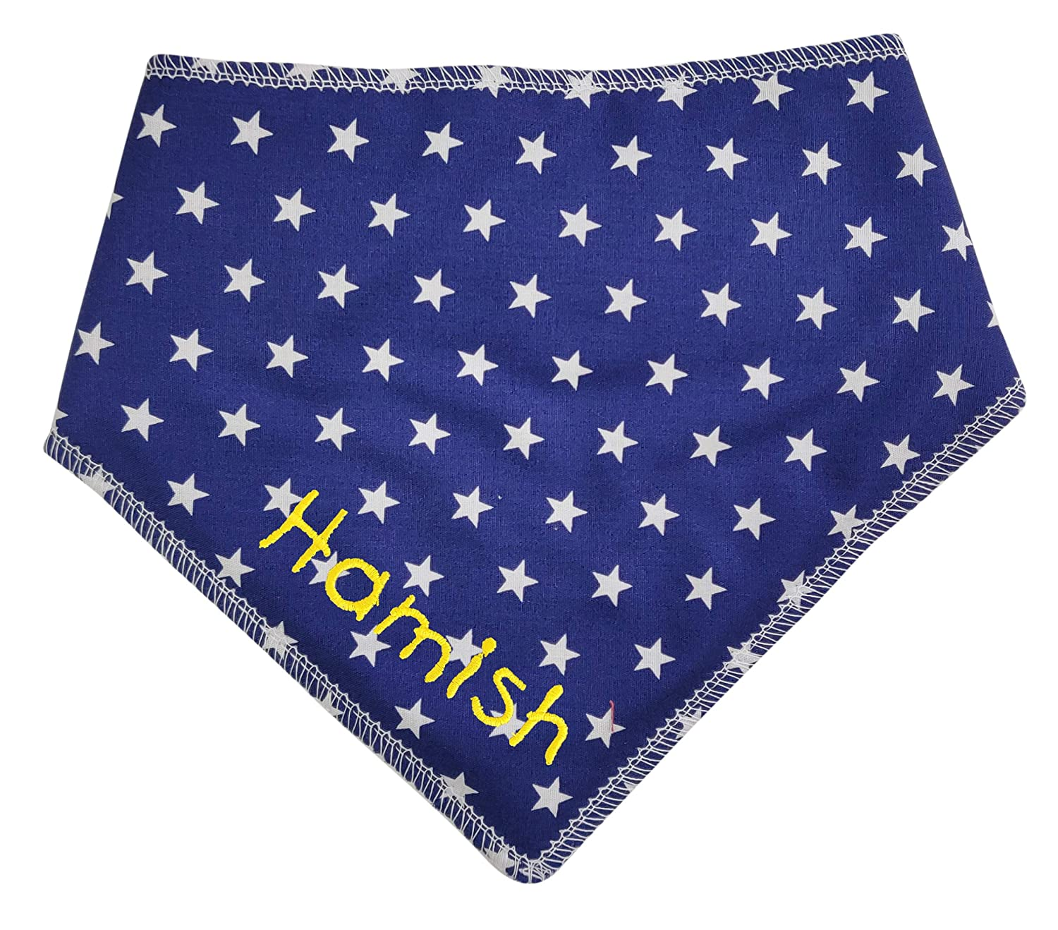 Personalised With Embroidery S2 Any Name Added Navy Blue Mini Stars Spoilt Rotten Pets Dog Bandana -