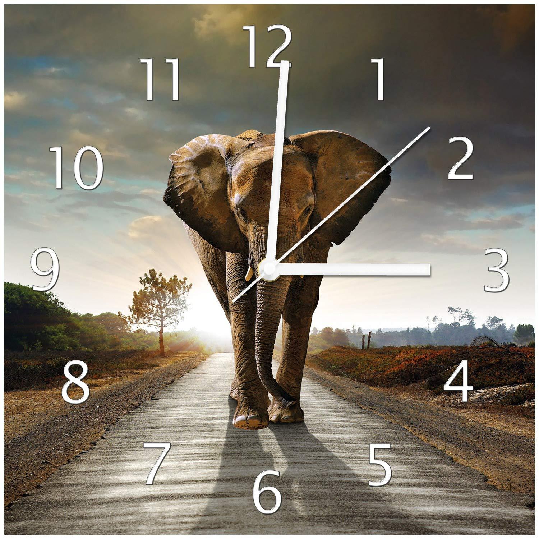 Wallario Glas-Uhr Glas-Uhr Glas-Uhr Echtglas Wanduhr Motivuhr • in Premium-Qualität • Größe  30x30cm • Motiv  Elefant bei Sonnenaufgang in Afrika 3686ef