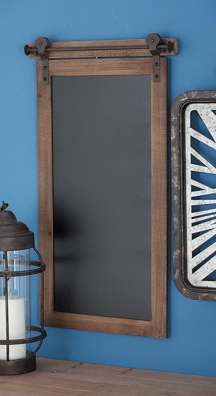 Deco 79 84252 Rectangular Wood and Metal Chalkboard, 16x2x28, Brown/Black