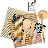 SUROY Sushi Making Kit Including 2 Sushi Rolling Mats, 5 Pairs of Chopsticks, 1 Paddle, 1 Spreader, 1 Sauce Dish, 1 Rice Making Tool, 1 Storage Bag, 1 Beginner Guide, Bamboo Sushi Roller Kit