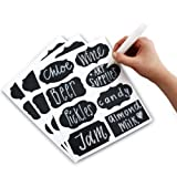 Prime Folks Co. Chalkboard Labels Kit ~ 48x Stickers INCLUDING Liquid Chalk Marker Pen ~ 8 Different Trendy Designs ~ Perfect for Jam Jars, Beer, Wine, Storage and more