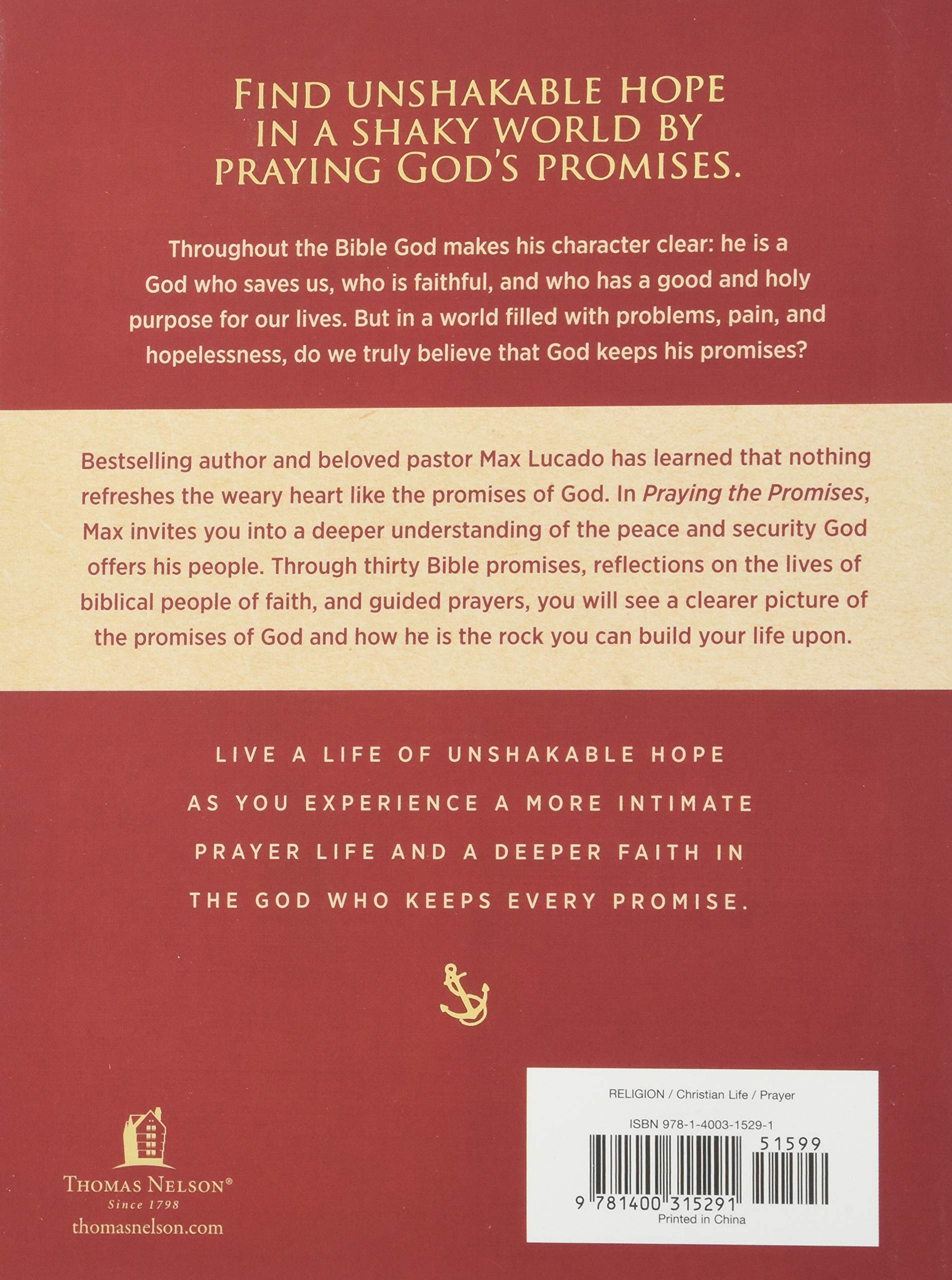 Praying the Promises: Anchor Your Life to Unshakable Hope: Max Lucado,  Andrea Lucado: 9781400315291: Amazon.com: Books