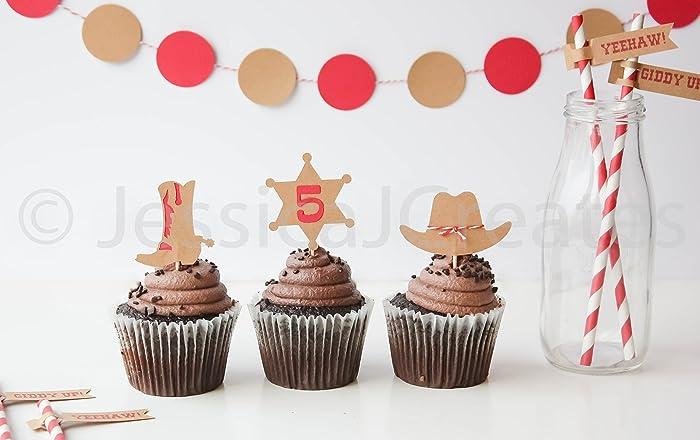 Amazon Cowboy Cupcake Toppers