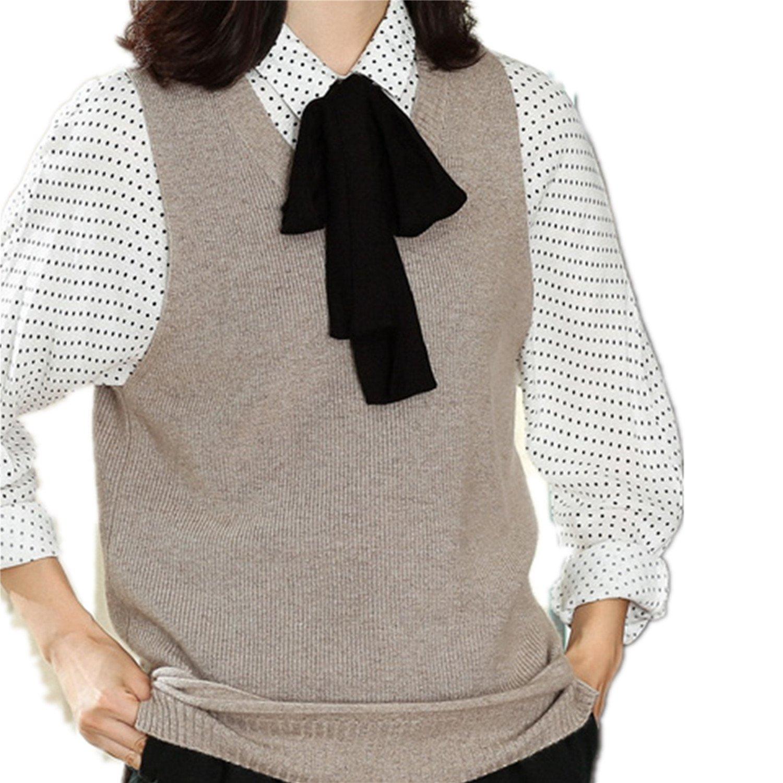 DILLY FASHION Women Cashmere Vest V Neck Sleeveless Pullover Knit Sweater Vest