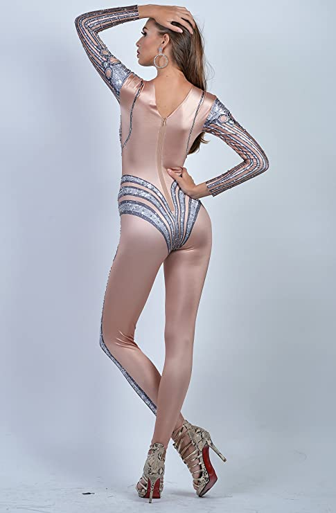 a72c3986d7d Amazon.com  Charismatico Silver V-Shape Illusion 3D Print Sexy Cleavage  Bodycon Clubwear Queen Romper Catsuit Jumpsuit US0-US6  Clothing