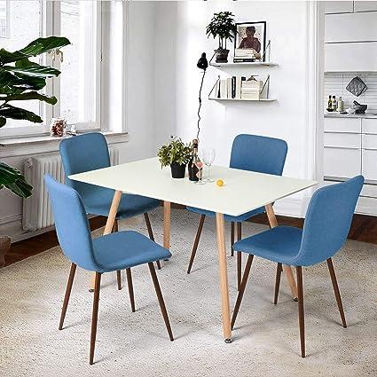 BOJU, Set Moderno per Sala da Pranzo, 1 Tavolo e 4 sedie in Tessuto e Legno Bianco, per Piccole cucine, ristoranti, sedie Imbottite Gialle con Gambe