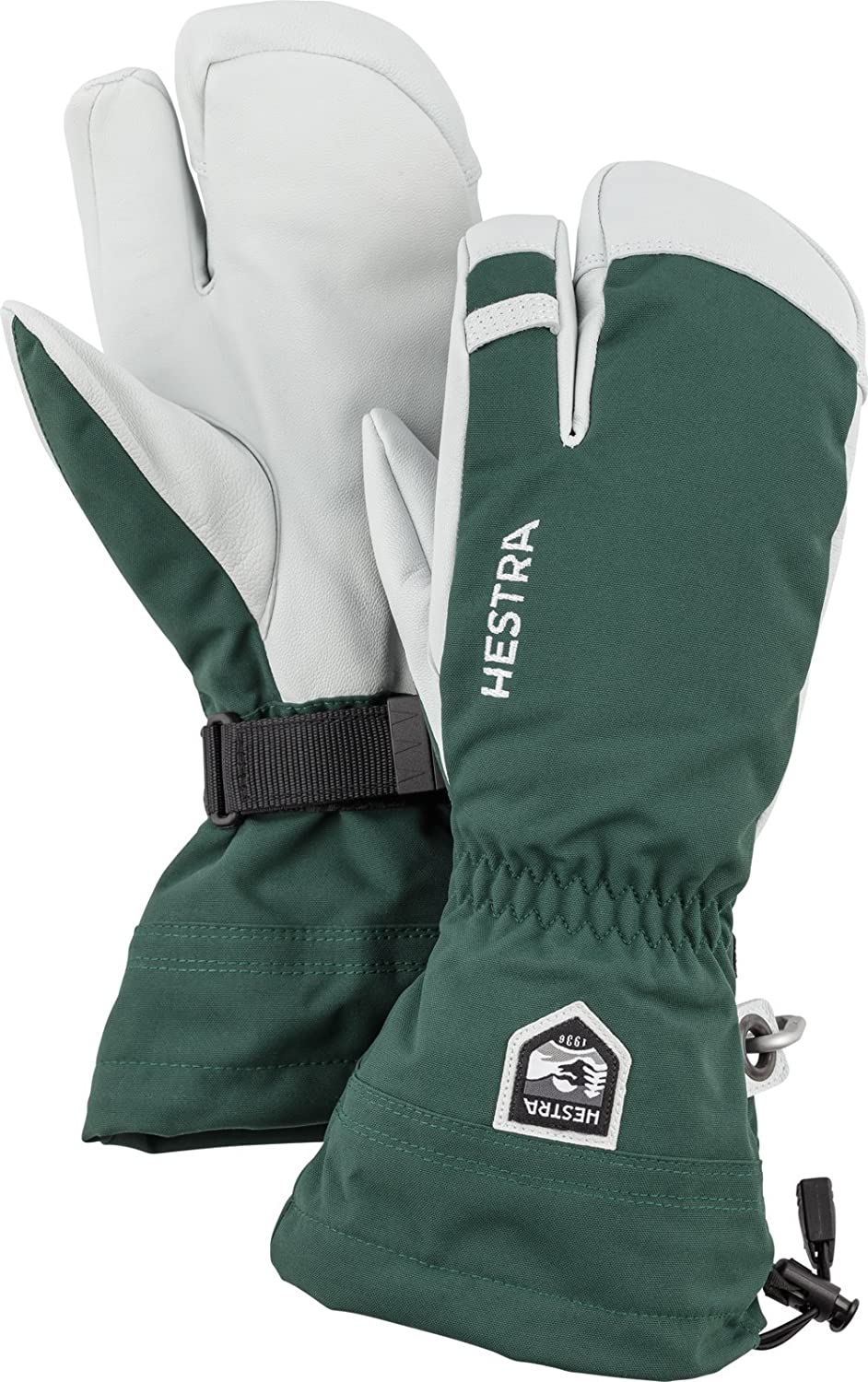 Hestra Mens and Womes Ski Gloves: Army Leather 3-Finger Winter Mitten 30572