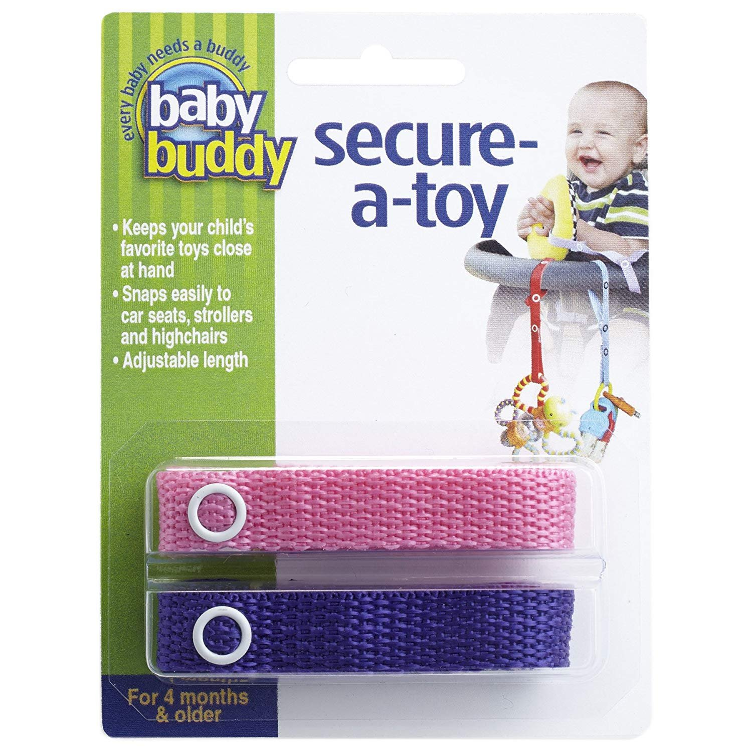 Baby Buddy Secure-A-Toy, Navy/Blue, 2-Pack Compac Industries 00156NB