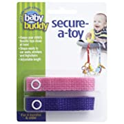 Baby Buddy Secure-A-Toy - Straps Toys, Teether, or Pacifiers to Strollers, Highchairs, Car Seats— Safety Leash With Adjustable Length to Keep Toys Sanitary & Clean, Pink/Purple 2 Count