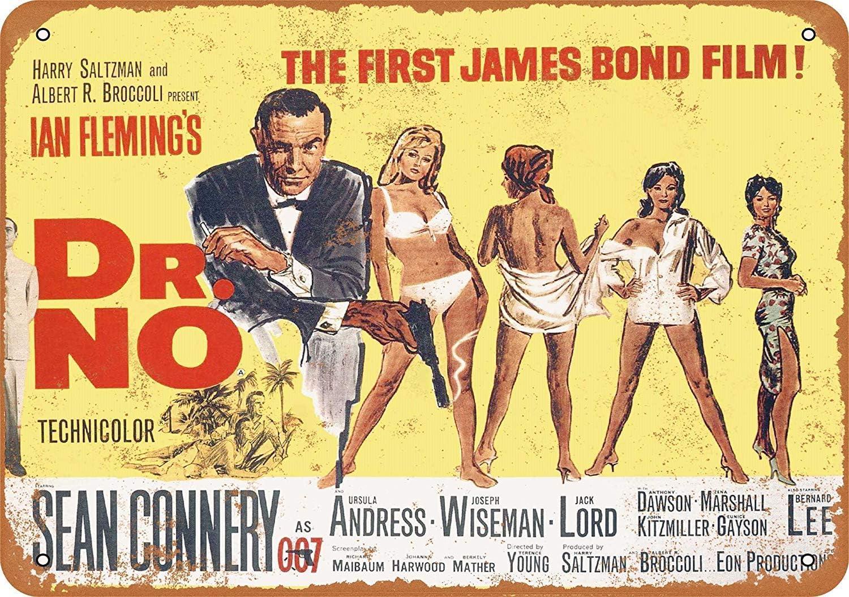 James Bond Dr No Film Film Métal Tin Signe Affiche Plaque Murale