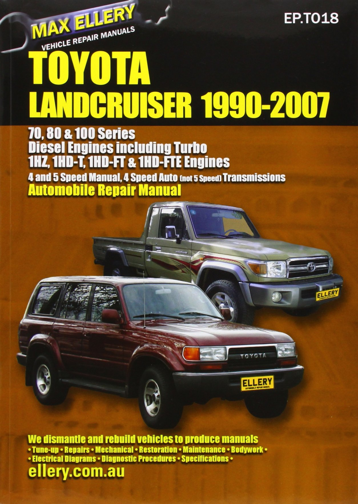 Toyota Landcruiser 1990-2007 Diesel Engines Including Turbo: 70's, 80's,  and 100's Series: Automobile Repair Manual: Amazon.co.uk: Max Ellery: ...