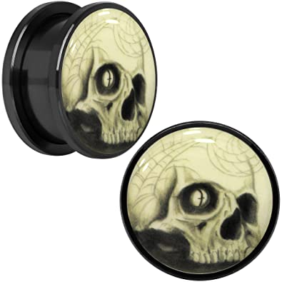 Body Candy Black Anodized Steel Spider Web Skull Glow in the Dark Screw Fit Ear Gauge Plug Pair 18mm