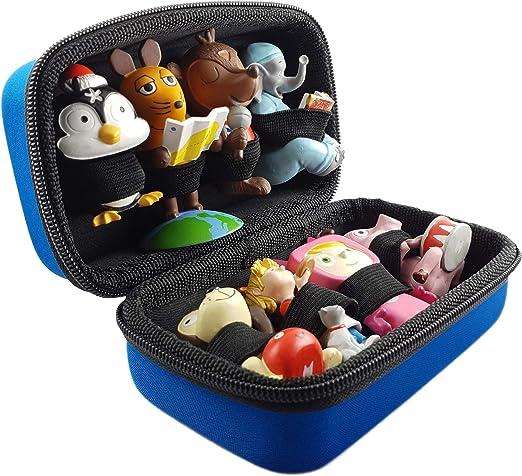 mind care essentials Transporttasche für Tonies - BLAU - geeignet für Toniebox: Platz für bis zu 8 Tonie Figuren - Aufbewahrung Transport Tasche Transportbox Reisetasche Box Koffer Case
