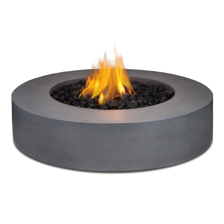 amazoncom real flame mezzo round propane fire pittable in flint gray patio lawn u0026 garden