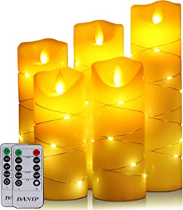 flameless Candle, with Embedded String Lights, DANIP 5-Piece LED Candles, with 10-Key Remote Control, 24-Hour Timer Function, Dancing Flame, Real Wax, Battery-Powered. (Ivory White)