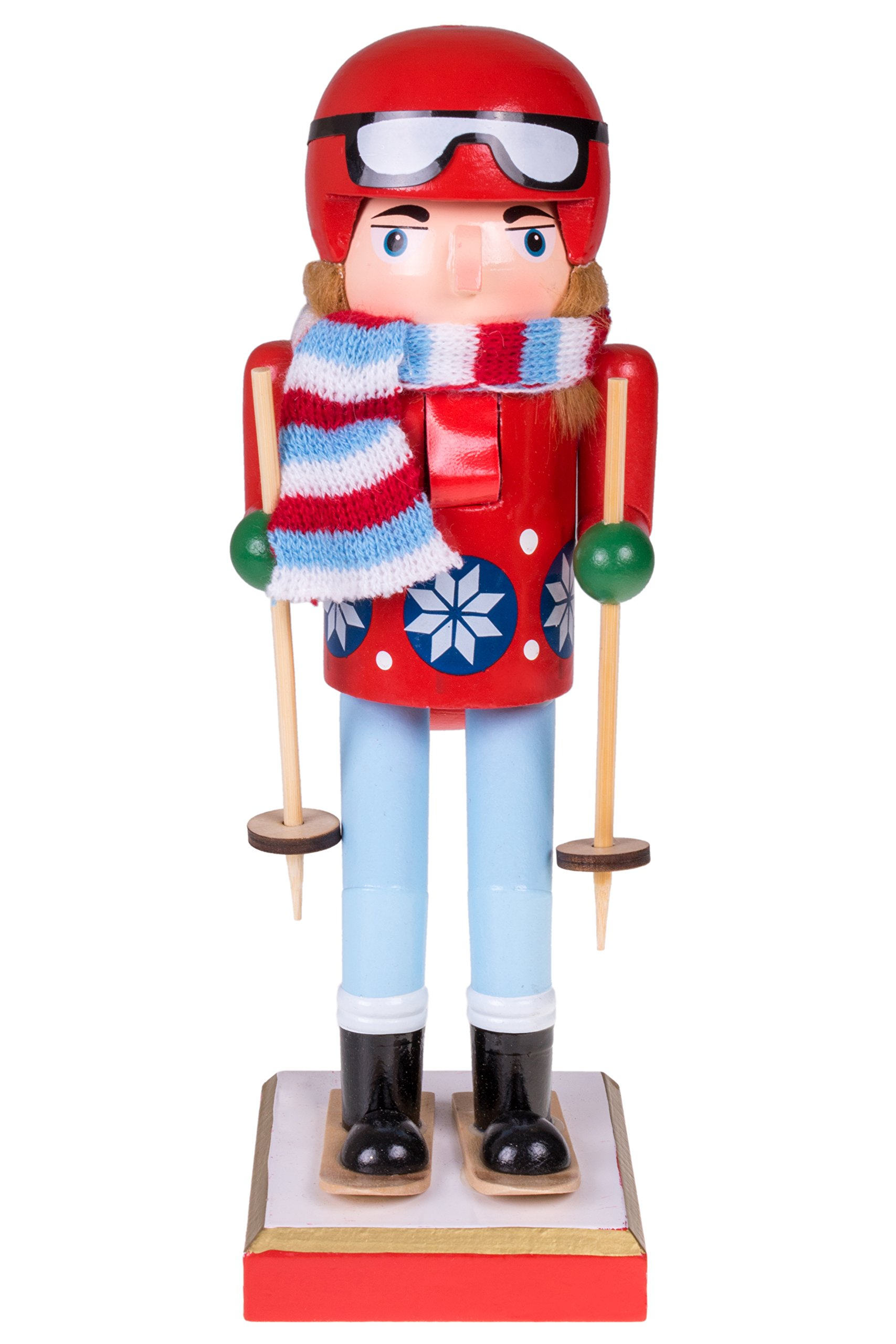 Clever Creations Skier Nutcracker | Traditional and Perfect Christmas Decor | 10'' Tall Nutcracker Wears Red Helmet with Coat | 100% Wood Christmas Nutcracker Attached with Scarf and Ski Equipment