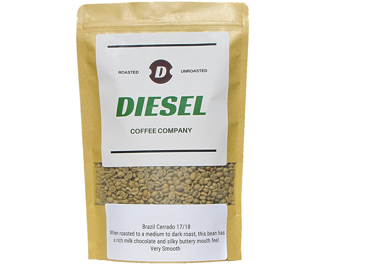 Unroasted-Green Whole Coffee Bean,Brazil Cerrado For Roasting,3lb By Diesel Coffee Company. Cupping Notes: chocolate notes, medium body, nutty, sweet, caramel, clean finish