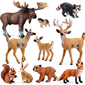 UANDME 10pcs Forest Animals Figures, Woodland Creatures Figurines, Miniature Toys Cake Toppers
